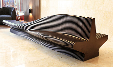 Sculpture bench for office lobby, Urban Adapter,Lobby Bench, Parametric Prototype, Rocker Lange Architects, 100 Van Ness,Christian J. Lange, Urban furniture, digital fabrication, indoor benches, street furniture, adaptable architecture, parametric bench