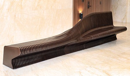Urban Adapter, Parametric Prototype, Rocker Lange Architects, 100 Van Ness,Christian J. Lange, Urban furniture, digital fabrication, indoor benches, street furniture, sculpture bench,parametric bench