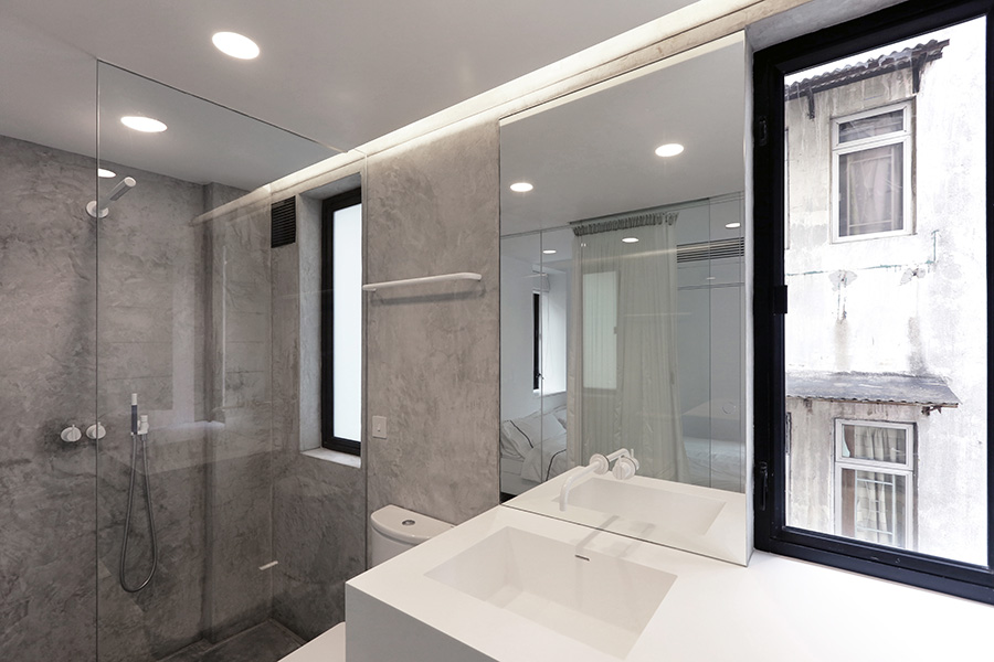 H-residence, rocker-lange, Hong-Kong, minimal bathroom design with concrete and corian finish