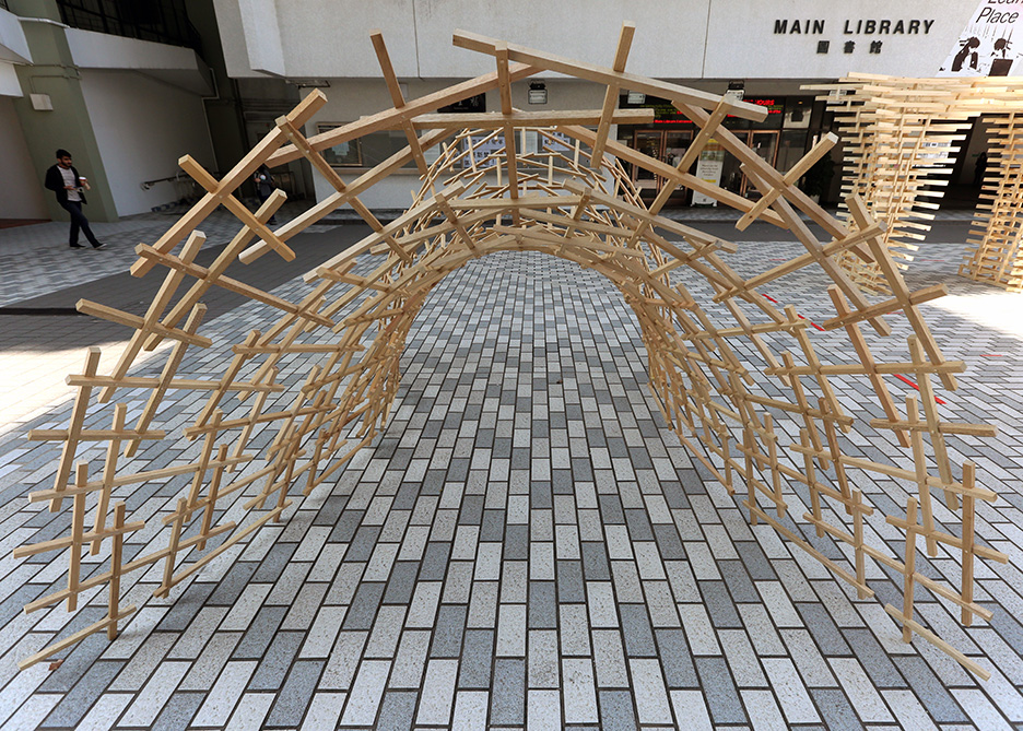 weaving bridge,timber woven arch bridge, china, reciprocal structure, robotic fabrication, Christian J. Lange