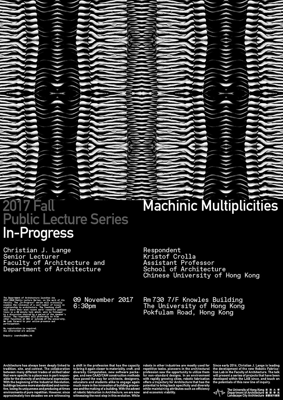 Christian J. Lange, Machinic Multiplicities, The University of Hong Kong, Faculty of Architecture